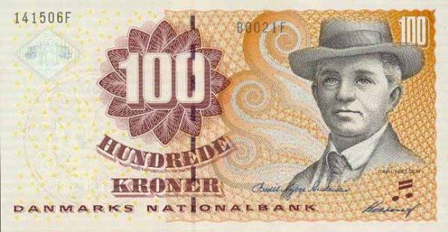 Датская крона. Купюра номиналом в 100 DKK, аверс (лицевая сторона).