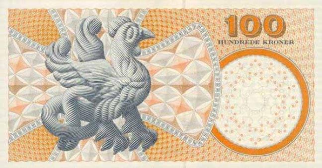 Датская крона. Купюра номиналом в 100 DKK, реверс (обратная сторона).