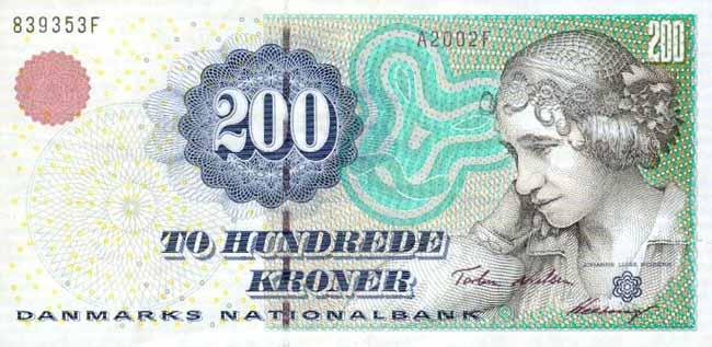 Датская крона. Купюра номиналом в 200 DKK, аверс (лицевая сторона).