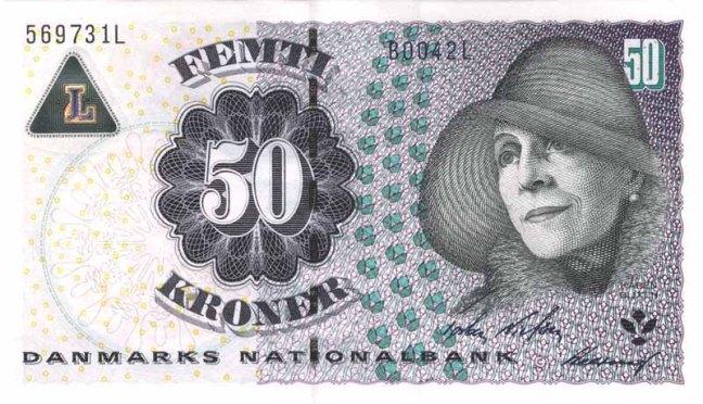 Датская крона. Купюра номиналом в 50 DKK, аверс (лицевая сторона).
