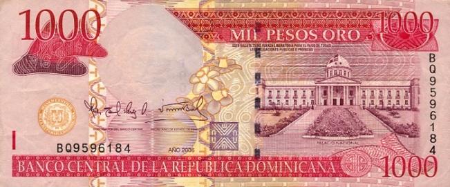 Доминиканское песо. Купюра номиналом в 1000 DOP, аверс (лицевая сторона).