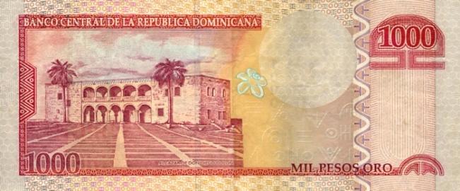 Доминиканское песо. Купюра номиналом в 1000 DOP, реверс (обратная сторона).