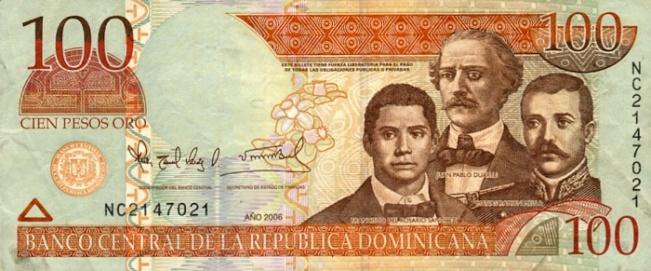 Доминиканское песо. Купюра номиналом в 100 DOP, аверс (лицевая сторона).