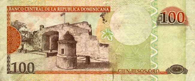 Доминиканское песо. Купюра номиналом в 100 DOP, реверс (обратная сторона).