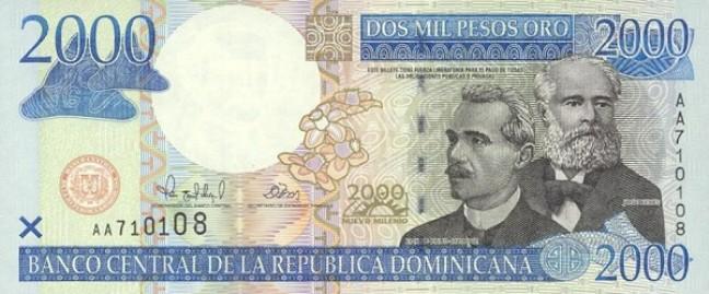 Доминиканское песо. Купюра номиналом в 2000 DOP, аверс (лицевая сторона).