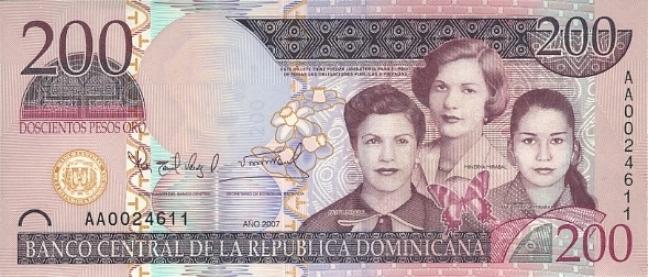 Доминиканское песо. Купюра номиналом в 200 DOP, аверс (лицевая сторона).