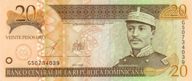 Доминиканское песо. Купюра номиналом в 20 DOP, аверс (лицевая сторона).