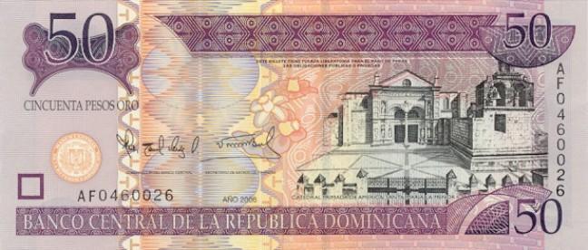 Доминиканское песо. Купюра номиналом в 50 DOP, аверс (лицевая сторона).