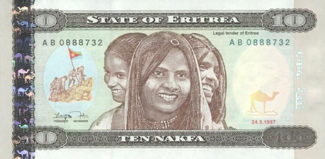 Эритрейская накфа. Купюра номиналом в 10 ERN, аверс (лицевая сторона).