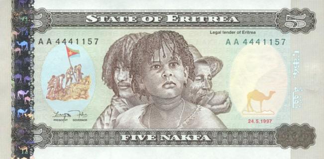 Эритрейская накфа. Купюра номиналом в 5 ERN, аверс (лицевая сторона).