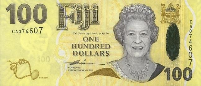 Фиджийский доллар. Купюра номиналом в 100 FJD, аверс (лицевая сторона).