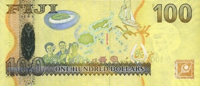 Фиджийский доллар. Купюра номиналом в 100 FJD, реверс (обратная сторона).