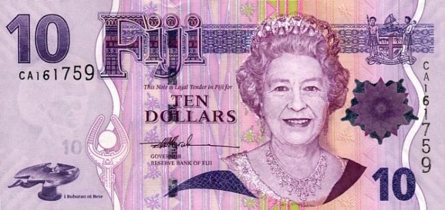 Фиджийский доллар. Купюра номиналом в 10 FJD, аверс (лицевая сторона).