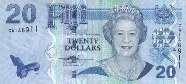 Фиджийский доллар. Купюра номиналом в 20 FJD, аверс (лицевая сторона).