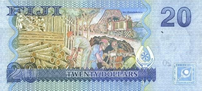 Фиджийский доллар. Купюра номиналом в 20 FJD, реверс (обратная сторона).