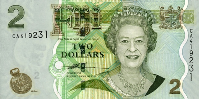 Фиджийский доллар. Купюра номиналом в 2 FJD, аверс (лицевая сторона).