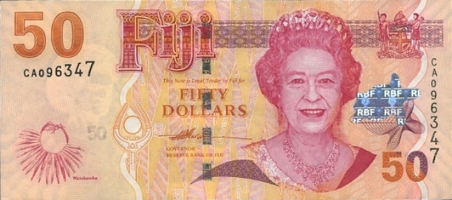 Фиджийский доллар. Купюра номиналом в 50 FJD, аверс (лицевая сторона).
