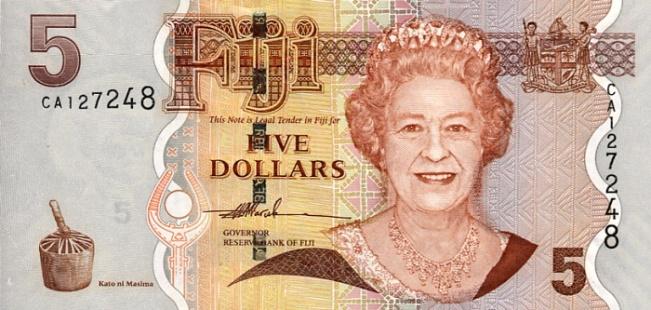 Фиджийский доллар. Купюра номиналом в 5 FJD, аверс (лицевая сторона).