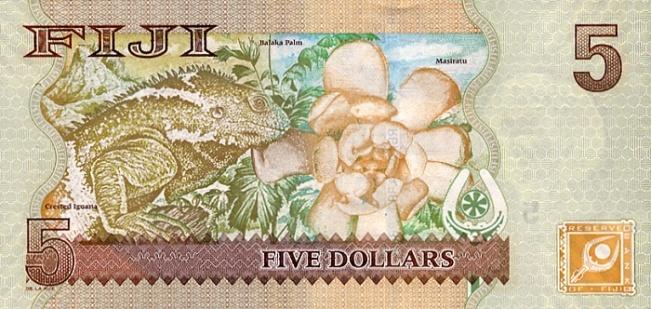 Фиджийский доллар. Купюра номиналом в 5 FJD, реверс (обратная сторона).