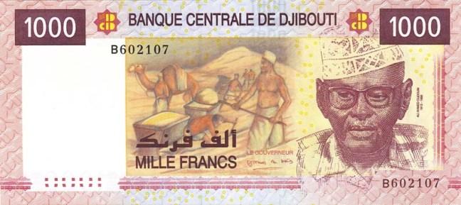 Франк джибути. Купюра номиналом в 1000 DJF, аверс (лицевая сторона).