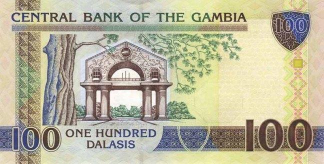 Гамбийский даласи. Купюра номиналом в 100 GMD, реверс (обратная сторона).