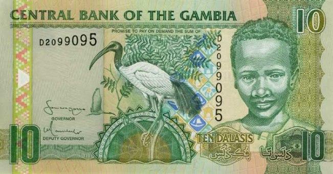 Гамбийский даласи. Купюра номиналом в 10 GMD, аверс (лицевая сторона).