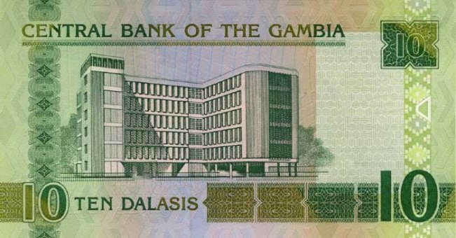 Гамбийский даласи. Купюра номиналом в 10 GMD, реверс (обратная сторона).