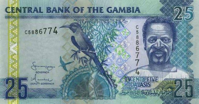 Гамбийский даласи. Купюра номиналом в 25 GMD, аверс (лицевая сторона).