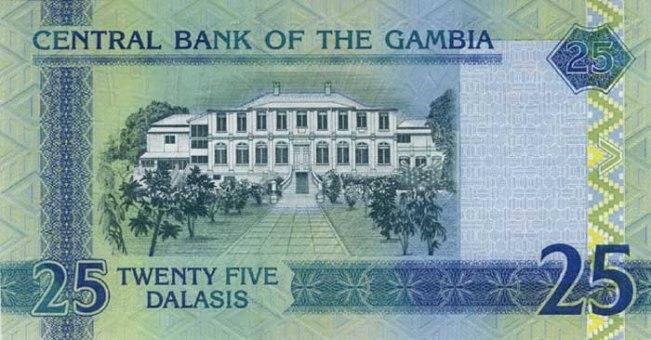Гамбийский даласи. Купюра номиналом в 25 GMD, реверс (обратная сторона).