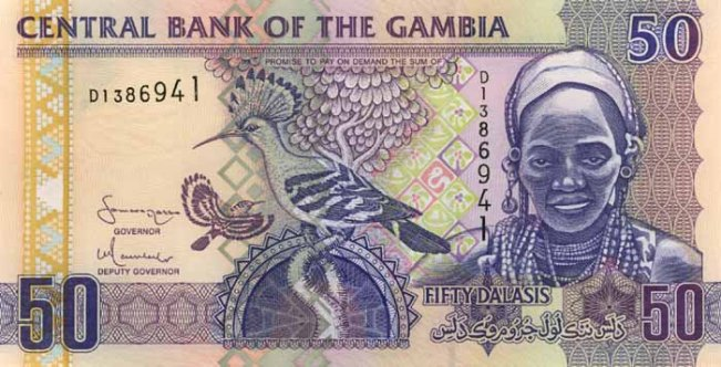 Гамбийский даласи. Купюра номиналом в 50 GMD, аверс (лицевая сторона).