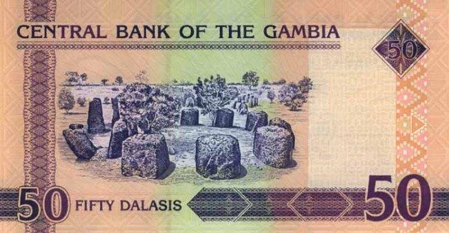 Гамбийский даласи. Купюра номиналом в 50 GMD, реверс (обратная сторона).