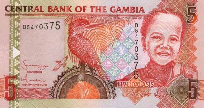 Гамбийский даласи. Купюра номиналом в 5 GMD, аверс (лицевая сторона).
