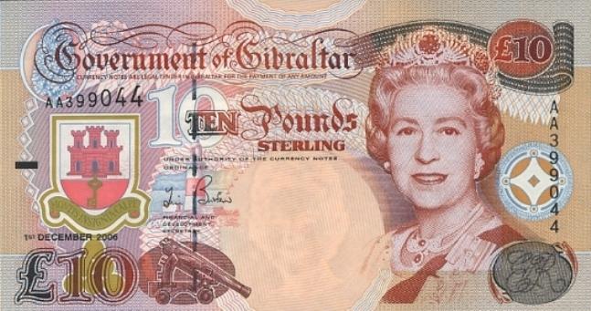 Гибралтарский фунт. Купюра номиналом в 10 GIP, аверс (лицевая сторона).