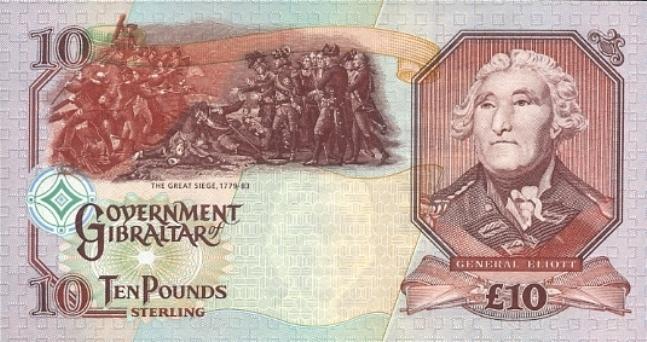 Гибралтарский фунт. Купюра номиналом в 10 GIP, реверс (обратная сторона).
