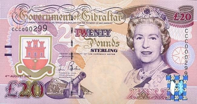 Гибралтарский фунт. Купюра номиналом в 20 GIP, аверс (лицевая сторона).