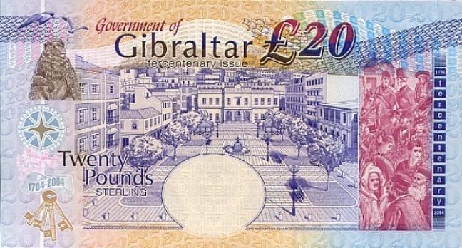 Гибралтарский фунт. Купюра номиналом в 20 GIP, реверс (обратная сторона).