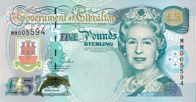 Гибралтарский фунт. Купюра номиналом в 5 GIP, аверс (лицевая сторона).