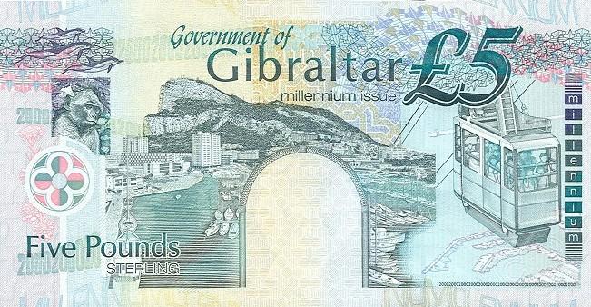 Гибралтарский фунт. Купюра номиналом в 5 GIP, реверс (обратная сторона).
