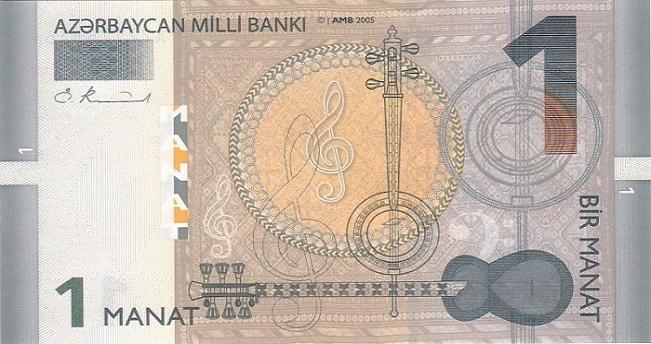 Азербайджанский манат. Купюра номиналом в 1 AZN, аверс (лицевая сторона).