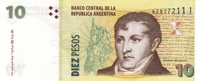 Аргентинское песо. Купюра номиналом в 10 ARS. аверс (лицевая сторона).
