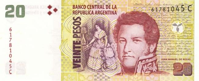 Аргентинское песо. Купюра номиналом в 20 ARS. аверс (лицевая сторона).