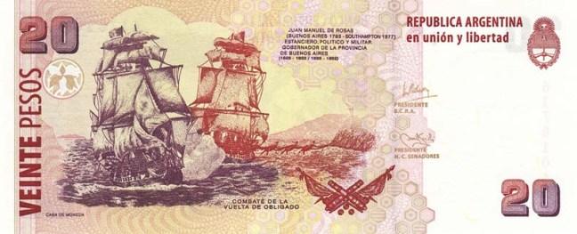 Аргентинское песо. Купюра номиналом в 20 ARS. реверс (обратная сторона).