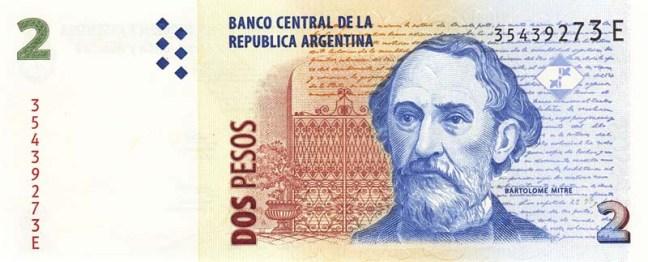 Аргентинское песо. Купюра номиналом в 2 ARS. аверс (лицевая сторона).