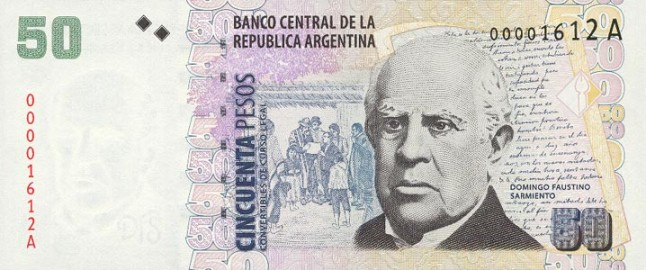 Аргентинское песо. Купюра номиналом в 50 ARS. аверс (лицевая сторона).