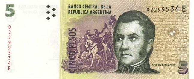 Аргентинское песо. Купюра номиналом в 5 ARS. аверс (лицевая сторона).