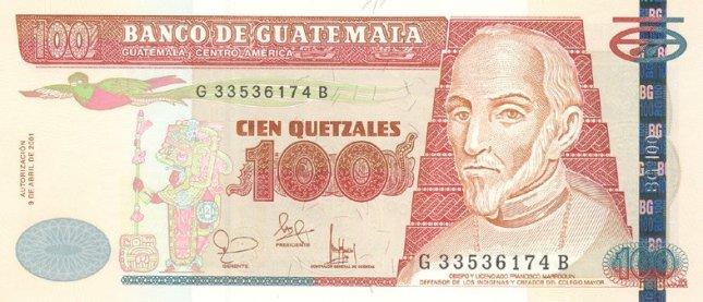 Гватемальский кетсаль. Купюра номиналом в 100 GTQ, аверс (лицевая сторона).