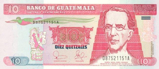 Гватемальский кетсаль. Купюра номиналом в 10 GTQ, аверс (лицевая сторона).