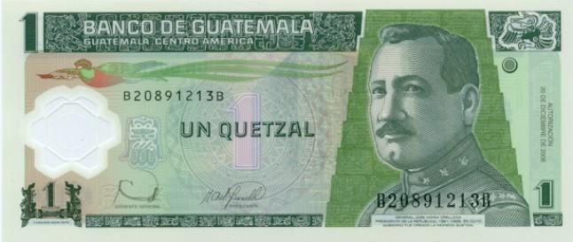 Гватемальский кетсаль. Купюра номиналом в 1 GTQ, аверс (лицевая сторона).