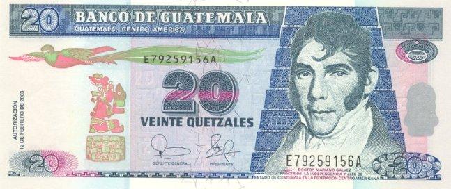 Гватемальский кетсаль. Купюра номиналом в 20 GTQ, аверс (лицевая сторона).