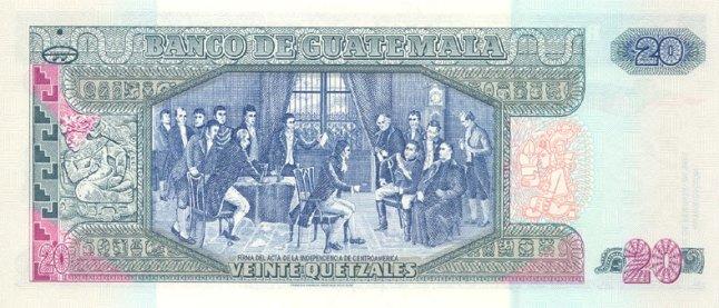 Гватемальский кетсаль. Купюра номиналом в 20 GTQ, реверс (обратная сторона).